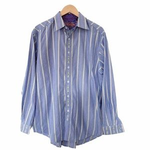 Robert Graham Blue Pink Gold Pinstripe Dress Shirt